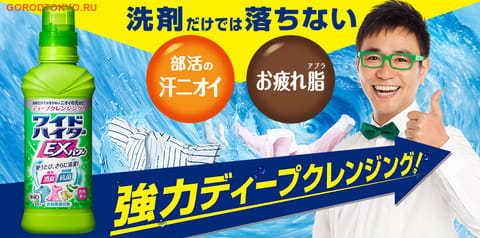 """KAO """"Wide Haiter EX Power"""" Жидкий концентрированный кислородный пятновыводитель для цветного белья, 480 мл, сменная упаковка. (фото, вид 1)"""