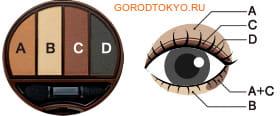 KOJI HONPO Dolly Wink Eye Shadow Тени для век четырёхцветные (01 - классический коричневый).