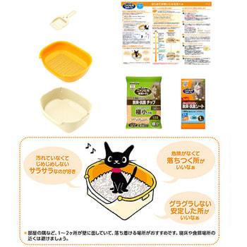 """KAO """"Nyan - Toilet set for kitten, Ivory-Orange"""" Биотуалет для котёнка (весом до 3,5 кг) с регулируемой высотой входа в лоток + подстилка 1 комплект + наполнитель 1,5 л. (фото, вид 2)"""