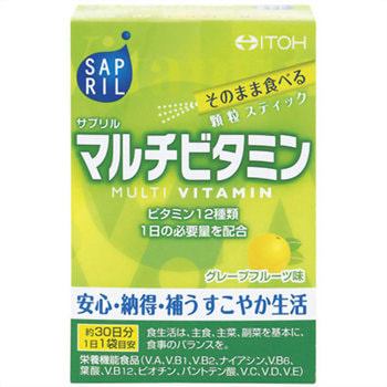 "Itoh Kanpo Pharmaceutical ""Sapril multivitamin"" Саприл Мультивитамин, со вкусом грейпфрута, 30 саше-пакетов на 30 дней. (фото, вид 1)"