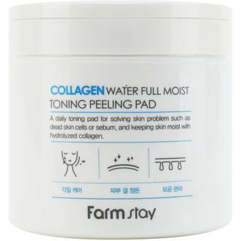 "FarmStay ""Collagen Water Full Moist Toning Peeling Pad"" Отшелушивающие очищающие подушечки с коллагеном, 70 шт. (фото, вид 1)"