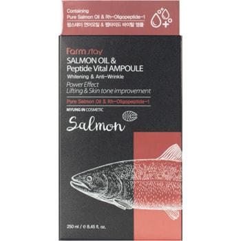 "FarmStay ""FarmStay Salmon Oil &Peptide Vital Ampoule"" Многофункциональная ампульная сыворотка с маслом лосося и пептидами, 250 мл. (фото, вид 1)"