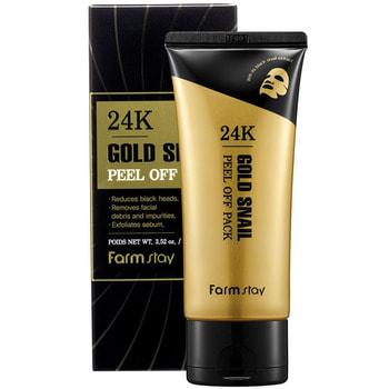 "FarmStay ""24K Gold Snail Peel Off Pack"" Маска-плёнка с золотом и муцином улитки, 100 г. (фото, вид 2)"