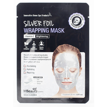 "MBeauty ""Silver Foil Wrapping Mask"" Восстанавливающая серебряная фольгированная маска для лица с витамином С, 25 мл. (фото, вид 1)"