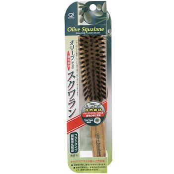"""Ikemoto """"Olive Squalane Impregnated Brush"""" Расческа с натуральной щетиной и оливковым скваланом. (фото, вид 2)"""