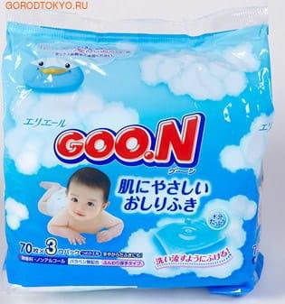 Daio paper Japan Нежные гигиенические салфетки Goon, контейнер, 70 шт.