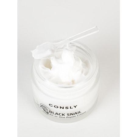 """Consly """"Black Snail All-In-One Repair Cream"""" Крем для лица многофункциональный восстанавливающий с муцином черной улитки, 70 мл. (фото, вид 2)"""