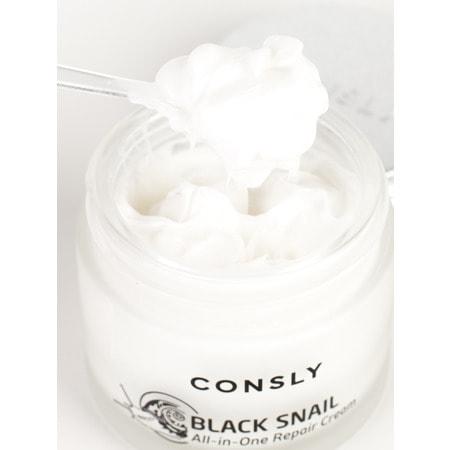 """Consly """"Black Snail All-In-One Repair Cream"""" Крем для лица многофункциональный восстанавливающий с муцином черной улитки, 70 мл. (фото, вид 3)"""