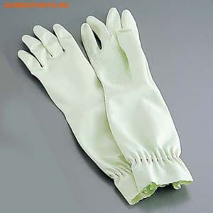 """ST """"Family"""" Перчатки из каучука для бытовых и хозяйственных нужд (с антибактериальным эффектом, средней толщины), размер L, зелёные. (фото, вид 1)"""