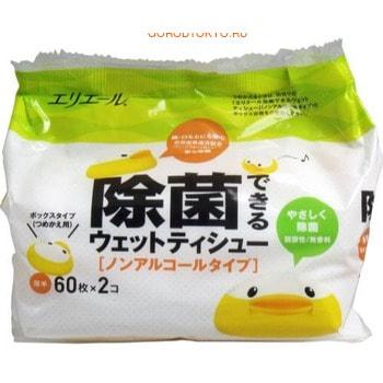 Фото Daio paper Japan Влажные салфетки для всей семьи, запасной блок, 2 х 60 шт.. Купить в РФ