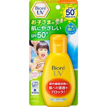 KAO «Biore UV» Детское солнцезащитное молочко для лица и тела, SPF 50+, 90 г.Защита от солнца и насекомых<br>Солнцезащитное молочко идеально подходит для защиты нежной детской кожи от ультрафиолетового излучения.  Защищает кожу на длительный период, является водостойким. Содержит увлажняющий компонент ; вазелин, который питает кожу и предохраняет ее от пересыхания.  Средство гипоаллергенно, не содержит красителей, спирта и отдушек.  Способ применения: равномерно нанесите средство на кожу.  В течение дня периодически наносите средство повторно.  Состав: вода, этилгексил метоксициннамат, алкил бензоат (C12-15), глицерин, пропандиол, циклопентасилоксан, бис-этилгексил метоксифенил триазин, глицерилбегенат, диэтиламино гидроксибензоил гексил бензоат, диметикон, цетиловый спирт, дистеарат сорбитан, акрилат натрия / акрилдиметилтаурат натрия сополимер, стеарилглютаминовая кислота, парафин, этилгексил триазон, церезин, изогексадекан, аргинин, лаурилметакрилат / метакрилат натрия кросс полимер, полисорбат 80, ПЭГ-12 диметикон, декстрин пальмитиновая кислота, агар, вазелин, янтарная кислота, дегидроацетат натрия, метилпарабен, феноксиэтанол, ЭДТА-2Na, ВНТ.<br>