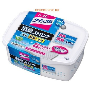 KAO «Quick Le Toilet Aroma» Влажные салфетки для уборки и устранения стойких запахов в туалете, с ароматом свежих трав, растворимые в воде, 10 шт.