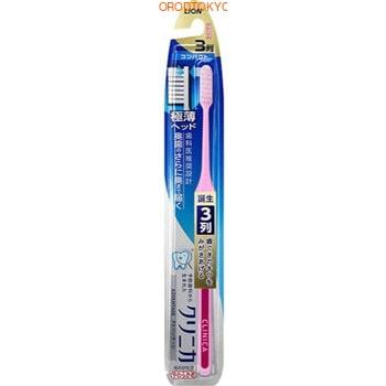 LION «Clinica Advantage» Компактная 3-рядная зубная щётка с плоским срезом, с тонкой ручкой, мягкая, 1 шт.