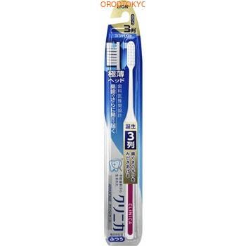 LION «Clinica Advantage» Компактная 3-рядная зубная щётка с плоским срезом, с тонкой ручкой, средней жёсткости, 1 шт.Средняя жёсткость<br>Заостренная форма головки и ультратонкий дизайн позволяет достать до самых дальних зубов.  Золотое правило японской гигиены рта ; щетка не должна покрывать больше 2 зубов.  Чем она меньше, тем тщательней вы почистите зубы, т.к. маленькой головкой гораздо удобнее манипулировать во рту, очищать труднодоступные места, особенно зубы мудрости.  Щетка бережно удаляет зубной налет за счет мягкой и упругой щетины с плоским срезом.  Благодаря резиновой вставке на ручке щетка удобно располагается в руке и не скользит.<br>