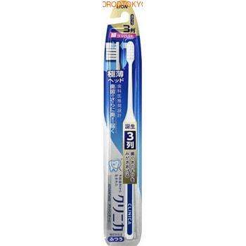 LION «Clinica Advantage» Суперкомпактная 3-рядная зубная щётка с плоским срезом, с тонкой ручкой, средней жёсткости, 1 шт.Средняя жёсткость<br>Заостренная форма суперкомпактной головки позволяет достать до самых дальних зубов.  Золотое правило японской гигиены рта ; щетка не должна покрывать больше 2 зубов.  Чем она меньше, тем тщательней вы почистите зубы, т.к. маленькой головкой гораздо удобнее манипулировать во рту, очищать труднодоступные места, особенно зубы мудрости.  Щетка бережно удаляет зубной налет за счет мягкой и упругой щетины с плоским срезом.  Благодаря резиновой вставке на ручке щетка удобно располагается в руке и не скользит.<br>