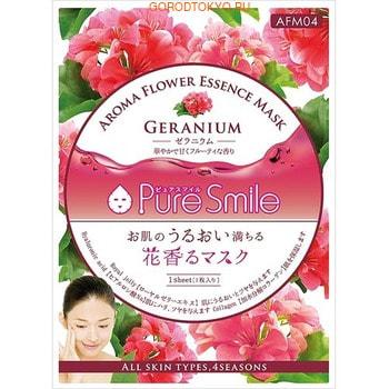 SUN SMILE «Pure Smile Aroma Flower» Восстанавливающая маска для лица, с маслом герани, 1 шт.КОРЕЙСКАЯ КОСМЕТИКА<br>Маски из серии Aroma Flower - это изысканный уход за Вашей кожей и чувствами!  Чувственный аромат цветов поможет Вам настроиться на позитивную волну, натуральные эфирные масла расслабят и тонизируют весь организм.  Маска, пропитанная концентрированной сывороткой с добавлением масла герани, эффективно восстановит эпидермис, способствует его глубокому омоложению и разглаживанию, регенирует и обновляет кожу лица.  Коллаген и гиалуроновая кислота подтянут кожу, придадут ей упругость и эластичность.  Экстракт алоэ-вера снимет раздражения, разгладит кожу.  Пантенол смягчит кожу, предупреждая её шелушение.  Коэнзим Q10 защитит кожу от неблагоприятной окружающей среды.   Применение: вскройте пакет с маской и нанесите на очищенную кожу, сначала на область вокруг глаз, затем на лицо и шею. Расслабьтесь и наслаждайтесь уходом за собой. Через 10-15 минут аккуратно снимите маску. Остатки сыворотки вбейте в кожу подушечками пальцев. Использовать 3-4 раза в неделю.   Состав: вода, глицерин, пропандиол, гидролизованный коллаген, ксантановая камедь, экстракт алоэ вера, экстракт портулака, экстракт маточного молочка, гидроксипропилгуаровая камедь, гиалуроновая кислота, метилпарабен, пантенол, феноксиэтанол, ?-глюкан, полисорбат 80, коэнзим Q10, EDTA-2Na, аргановое масло, арбутин, токоферола ацетат, ацетилгексапептид-8, масло герани.<br>