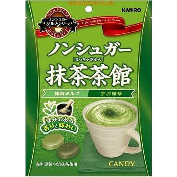 "Kanro ""Tea House"" Карамель без сахара со вкусом зеленого чая, мягкая упаковка, 72 гр."