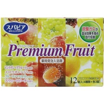 Fudo Kagaku Premium Fruits Соль для ванны на основе углекислого газа с тонизирующим эффектом и ароматом сочных фруктов, 12 таблеток по 40 гр.Для принятия ванны: соль для ванны, молочко, пена<br>Применение солей способствует снятию усталости, используется как успокаивающее средство при неврозах, бессоннице, стрессовых состояниях, для улучшения кровообращения, уменьшения напряжения в мышцах, повышения тонуса организма, поднятия эмоционального фона, работоспособности, настроения.  Особенности: ; Минеральные компоненты создают на поверхности кожи влагосберегающую вуаль, усиливают эффект принятия горячей ванны и активизирует кровообращение, эффективно снимают усталость и дают отличный тонизирующий эффект ; Натуральные компоненты (экстракт алоэ), деликатно ухаживают за Вашей кожей, и после ванны она становится гладкой и увлажненной. ; В зависимости от настроения и самочувствия позволяет выбрать наиболее желаемый в данный конкретный момент цвет и аромат. В наборе представлены следующие ароматы: 1. Персик - 3 шт (розовый оттенок воды). 2. Виноград - 3 шт (зеленый оттенок воды). 3. Апельсин- 3 шт (желтый оттенок воды). 4. Грейпфрут - 3 шт (оранжевый оттенок воды).<br>