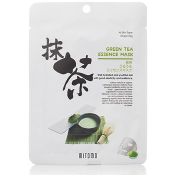 Mitomo «Uruuru» Тонизирующая тканевая маска для лица с экстрактом зелёного чая, 1 шт.