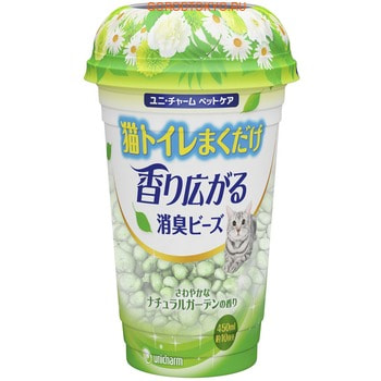 Unicharm Дезодорирующие шарики для кошачьего туалета, растительный запах, 450 мл.