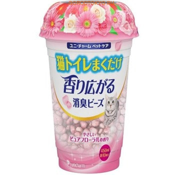 Unicharm Дезодорирующие шарики для кошачьего туалета, цветочный запах, 450 мл.