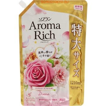 """LION """"Soflan Aroma Rich Diana"""" Кондиционер для белья с богатым ароматом натуральных масел, сменная упаковка, 1210 мл."""