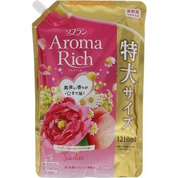 LION Soflan Aroma Rich Scarlet Кондиционер для белья с богатым ароматом натуральных масел, сменная упаковка 1210 мл.