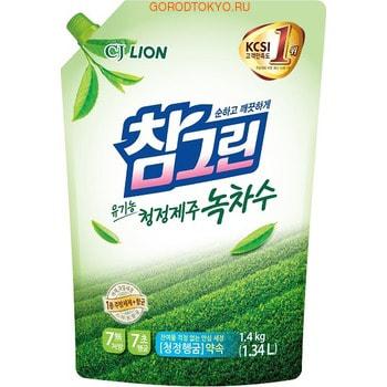 CJ LION Chamgreen - Зеленый чай Средство для мытья посуды, овощей и фруктов, сменная упаковка с колпачком, 1340 мл.