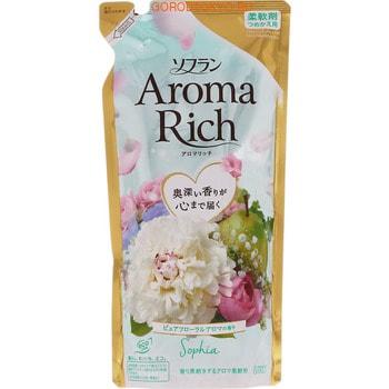 LION Soflan Aroma Rich Sofia Кондиционер для белья с богатым ароматом натуральных масел, сменная упаковка, 430 мл.