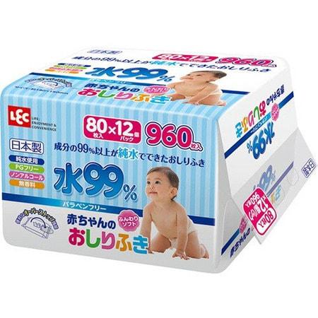 iPLUS Влажные салфетки для новорожденных, 99,9% воды, мягкая упаковка, 80 шт.