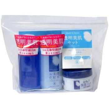 """Momotani """"Rice Moisture Travel set"""" Дорожный набор средств с экстрактом риса (очищающий лосьон для снятия макияжа, 58 мл + увлажняющий лосьон, 58 мл + увлажняющий крем, 30 г)."""