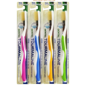 """Dental Care """"Tourmaline Toothbrush"""" Зубная щётка """"Турмалин"""" со сверхтонкой двойной щетиной (средней жёсткости и мягкой), 1 шт. (фото)"""