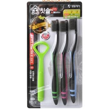 DENTAL CARE «Nano Charcoal Set» Набор: зубная щётка c древесным углём и сверхтонкой двойной щетиной (мягкой и супермягкой), 3 шт. + скребок для языка.