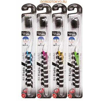 DENTAL CARE «Nano Charcoal Toothbrush» Зубная щётка c древесным углём и сверхтонкой двойной щетиной (средней жёсткости и мягкой) и прозрачной прямой ручкой, 1 шт. (фото)