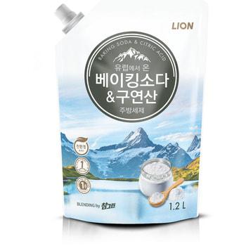 """CJ Lion """"Chamgreen"""" Средство для мытья посуды с содой и лимонной кислотой, мягкая упаковка, 1200 г."""