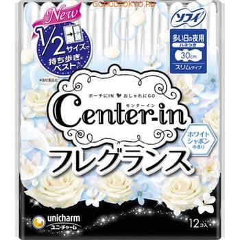 Unicharm «Center-in Compact» Ночные гигиенические прокладки с ароматом садовых цветов, нормал, 30 см, с крылышками, 12 шт.