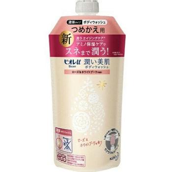 KAO «Biore U» Увлажняющий гель для душа с аминокислотами, аромат розы и белого букета, запасной блок, 340 мл.