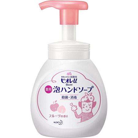 KAO «Biore U - Foaming Hand Soap Fruit» Мыло-пенка для рук с ароматом фруктов, 250 мл.Жидкое мыло для рук<br>Biore u Bubble Hand Soap Fruit, 280ml.<br> <br>Натуральные антибактериальные и обеззараживающие компоненты защищают от бактерий. Пенка обладает слабой кислотностью, поэтому безопасна для кожи малышей, и сохраняет естественный баланс кожи. Мелкозернистая пена прекрасно очищает и увлажняет кожу, сберегая при этом естественную влагу. С легким ароматом фруктов. Средство при нажатии выходит в виде пены, удобно в использовании, особенно для малышей.<br><br>  Состав: триклозан, очищенная вода, лаурилполиоксиэтиленсульфат натрия, сорбитол, дипропиленгликоль, глицерин, полиглицерил-лаурат, поликватерниум-10, пентанатрий пентетат, гидроксид натрия, аромат.<br>