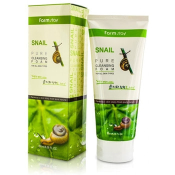 "FarmStay ""Snail Pure Cleansing Foam"" Очищающая пенка с муцином улитки, 180 мл."