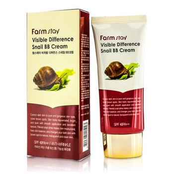 "FarmStay ""Visible Difference Snail Sun Cream"" Солнцезащитный крем с муцином улитки, SPF50+/PA+++, 70 г."