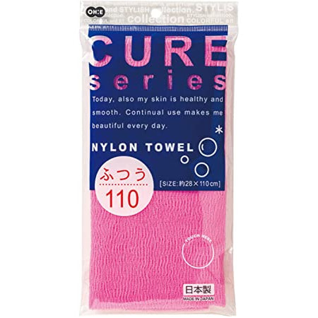 Ohe Corporation «Cure Nylon Towel» (Regular) массажная мочалка средней жесткости, цвет розовый 28 см. на 110 см. (фото)