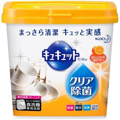 KAO «KyuKyutto» Порошок для посудомоечных машин с дезинфицирующим эффектом лимонной кислоты, с ароматом апельсина, 680 гр. порошок для посудомоечной машины kao citric acid effect аромат грейпфрута 680 г