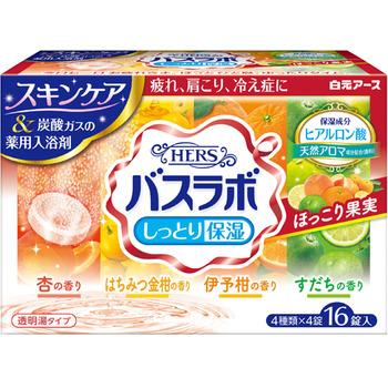 """Hakugen """"Hers Bath Labo"""" Увлажняющая соль для ванны с восстанавливающим эффектом, на основе углекислого газа, с гиалуроновой кислотой, с ароматами: абрикоса, медового кумквата, мандарина, лайма, 45 гр.*16 табл. (фото)"""