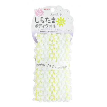 "Aisen ""Whipped Color Shiratama"" Массажная мочалка для тела, мягкая, лайм и лимон, 20 х 100 см, 1 шт. (фото)"