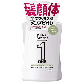"""KAO """"Men's Biore One - Все в одном"""" Очищающий гель для лица, тела и волос, с ароматом трав, 480 мл."""