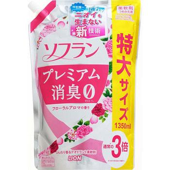 """Lion """"Soflan Premium Deodorizer Zero"""" Кондиционер для белья защищающий от неприятного запаха, аромат розовой розы, пиона и туберозы с нотами малины и персика, сменная упаковка, 1350 мл. (фото)"""