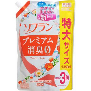 """Lion """"Soflan Premium Deodorizer Zero"""" Кондиционер для белья защищающий от неприятного запаха, натуральный аромат цветочного мыла, сменная упаковка, 1350 мл. (фото)"""