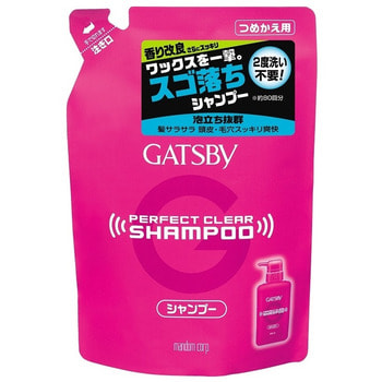 """Mandom """"Gatsby Perfect Clear shampoo"""" Мужской шампунь для экстрасильного очищения волос и кожи головы с охлаждающим эффектом против перхоти, сменная упаковка, 320 мл."""