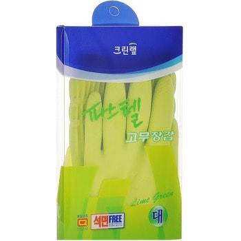 """Clean Wrap """"Сlean pastel latex glove"""" Перчатки из натурального латекса, с внутренним покрытием (удлиненные), зеленые, размер L, 1 пара."""