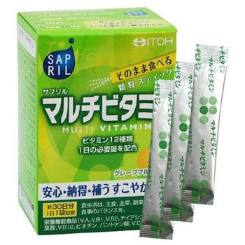 "Itoh Kanpo Pharmaceutical ""Sapril multivitamin"" Саприл Мультивитамин, со вкусом грейпфрута, 30 саше-пакетов на 30 дней. (фото)"